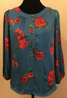 Anthropologie Maeve Womens 3/4 Button Blouse Small Blue Floral Puff Sleeve