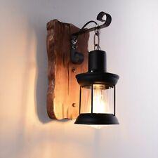 Vintage Style Unique industrielle bois verre métal noir lumière Lanterne murale