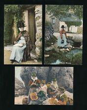 Wales WELSH WOMEN Tradiotional Dress x3 c1905 PPCs