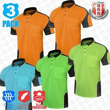 3x HI VIS Shirts POLO PANEL WITH PIPING SAFETY WORK WEAR COOL DRY SHORT SLEEVE