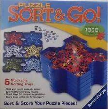 Jigsaw Puzzle Sort & Go ~ Sort Store Your Pieces 6 Stackable Trays Ravensburger