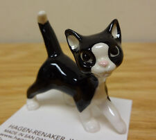 ➸ HAGEN RENAKER Cat Miniature Figurine Black and White Papa Cat Kitten
