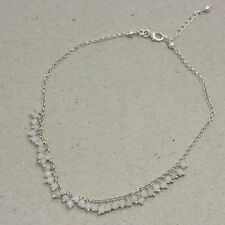 Solid 925 Sterling Silver Jewelry Beads Cut Rainbow Moonstone Anklet SA1116