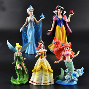 5 Disney Princess Elsa Ariel Belle Tinkerbell Snow White Action Figures Doll Toy