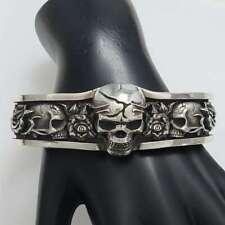 NIGHTRIDER Sterling Silver Medium Skull & Roses Cuff Bracelet BX7-NSR1