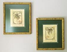 2 Palm Trees in a Bamboo Wood Frame Matted Wall Hanging