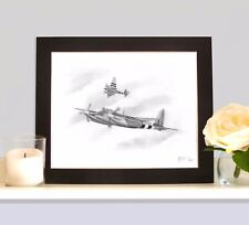 DE HAVILLAND MOSQUITO RAF Art Print Drawing Picture MOUNTED Ideal Present Gift
