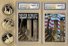 2002 23 Kt Gold World Trade Center 9/11 1st Black Patriotic 3 Coin Lot Grade