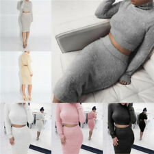 Fashion Women 2pcs Skirt Set Long Sleeve Cropped Top Pencil Skirt Knitted Suit F