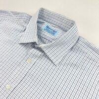 Hilditch & Key Mens French Cuff Dress Shirt White/Blue Check • Size 16.5 | 42