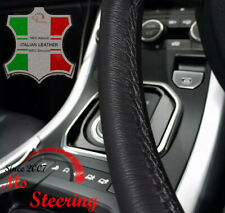 FOR MERCEDES E CLASS 95-99 ITALIAN LEATHER STEERING WHEEL COVER, BLACK DOUBLE ST