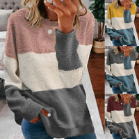Women Long Sleeve Crew Neck Sherpa Warm Sweatshirt Pullover T Shirt Casual Tops