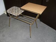 ORIGINAL VINTAGE 70's METAL FRAME WOODEN TABLE TOP - PHONE TABLE