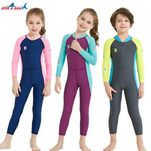 Kinder Tauchanzug Neoprenanzug Junge Mädchen Surf Schwimmanzug UV Schutz Langarm