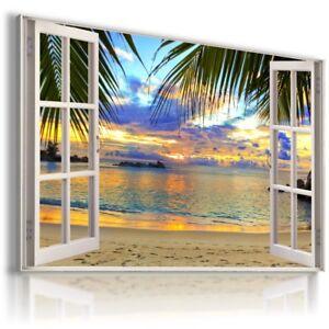 SUMMER BEACH SEA PALMS SUNSET 3D Window View Canvas Wall Art  W534 MATAGA