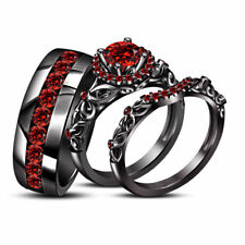 And Her 14k Black Gold Fn 925 Silver Red Garnet Engagement Trio Ring Set For His