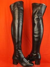NIB GUCCI LILLIAN BLACK LEATHER SILVER HORSEBIT OVER THE KNEE BOOTS 38 8 #388330