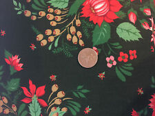 Christmas Rose Red Poinsettia Dark Green Cotton Christmas Quilting Fabric 18x44