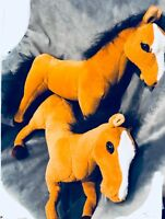 """Horse lot of 2 Standing/Laying 17"""" tall Plush Animal Stuffed Toy Bendable Legs"""