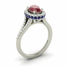 14k WHITE GOLD 2.06CTW RUBY, SAPPHIRE DIAMOND HALO SOLITAIRE ENGAGEMENT RING