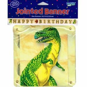 Dinosaurs Real T-Rex Jurassic Party Happy Birthday JOINTED BANNER