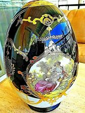"""Vintage Large 13.5"""" H Cobalt 24k Gold Hand-Painted Italian Porselain Egg W Stand"""