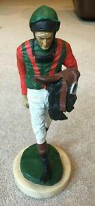 Circa 1990's Souvenir Statue of Lester Piggott in Racing Colours with Saddle etc