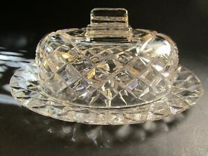 BEAUTIFUL SPARKLING  FACETTED LARGE CLEAR CUT CRYSTAL TYPE LIDDED BUTTER DISH