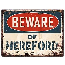 PP1797 Beware of HEREFORD Plate Rustic Chic Sign Home Store Wall Decor Gift