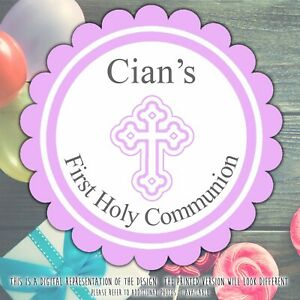 Personalised Baptism Christening Stickers Pink First Holy Communion labels