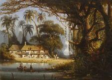 Fine 19th siècle Brésil Forêt coloniale française paysage antique Peinture à l'huile