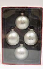 "Silver Glass Balls Christmas Ornaments Reindeer Snowman Set 4 New 2.5"""