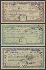 India Patiala State 1943 50Rs, 100Rs & 500Rs POST OFFICE SAVINGS CERTIFICATES