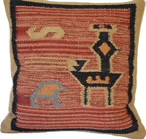 Kilim Cushion Covers Bird 50cm Wool Jute Floor Indian Persian Moroccan Handmade
