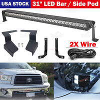 31'' Bumper Lower LED Bar + Light Pod Bracket Wire Kits For Toyota Tundra 14-UP