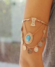 Gold Disc Arm Bracelet, Bohemian Charms Boho Coachella Arm Band Bracelet