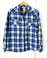 Crew Clothing Women's Shirt Size 16 Flannel Blue Check Snap Buttons 100% Cotton