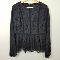 FOREVER NEW | Womens Black Valentina Lace Splice Top [ Size AU 10 or US 6 ]