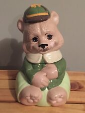 Vintage Teen Kid Teddy Bear Wearing School Cap & Clothes Cookie Jar 12""