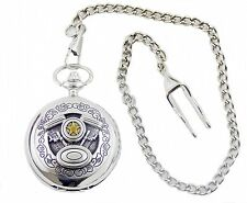 Pocket Watch with spring loaded lid and Chain v 8 Motor Motorcycle Car Biker