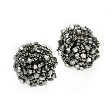 Hematite Coloured Glass Round Beaded Stud Earrings Ladies Fashion Jewellery