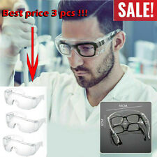 1-3 pcs Clear Safety Goggles Glasses Anti Fog Lens Work Lab Protective Chemical