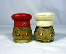 VINTAGE WOODEN CHEF SALT & PEPPER CANISTERS SHAKERS JAPAN CONTAINER SET