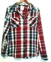 Levis Mens  Red Plaid Country Western Shirt Pearl Snap Long Sleeve XL