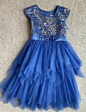 Jona Michelle Sz 6 Girls Dress royal blue lace amazing boutique holiday dress!