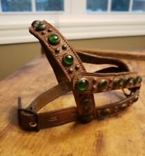 VINTAGE LEATHER DOG HARNESS WITH STUDDED BRASS& GREEN GLASS CATS EYE