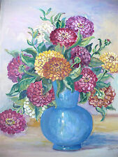 """Blanche Fox Morey Arts & Crafts Gouache Opaque Water Color Painting """"Zinnias"""""""
