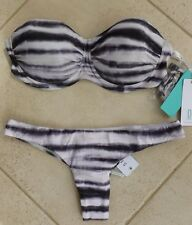 Seafolly Bikini AU 10 Osaka Steel Stripe D Cup Bustier Bra & Rio Brazilian Pant