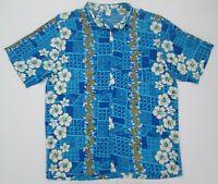 "Vintage Blue Tropical Hibiscus Flowers Hawaiian Shirt 48""-122cm L (506H)"