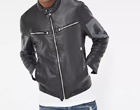 G-Star Raw Road GPL Black Mens Faux Leather Jacket UK Medium *ref56